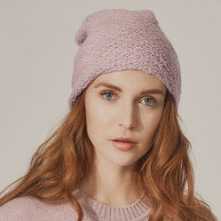 Textured Knit Hat - Pale Pink Twist