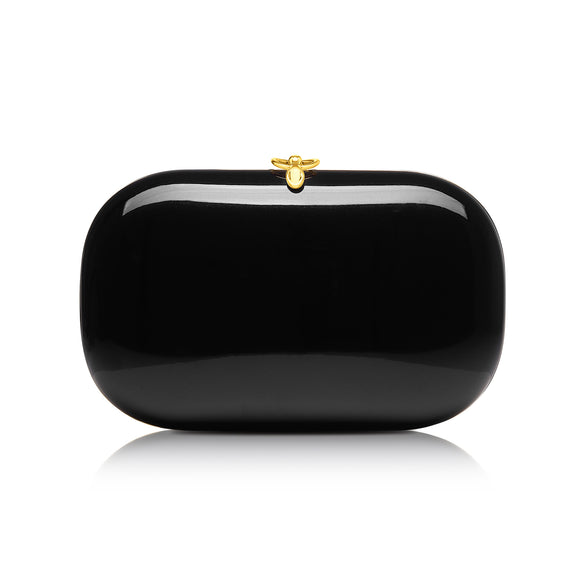 Elina Plus Black Gloss Clutch