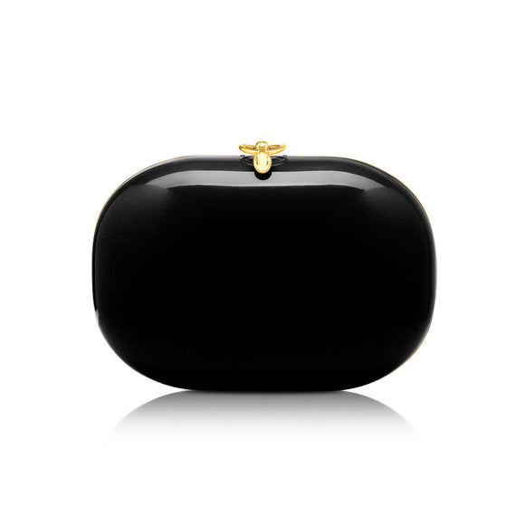 Elina Black Gloss Clutch