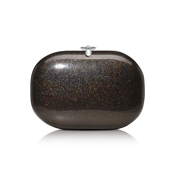Elina Black Rainbow Glitter Clutch