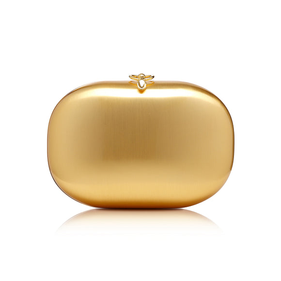 Elina Plus Matte Gold Clutch