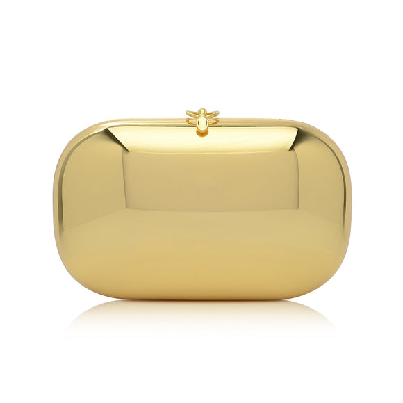 Elina Plus Gold Mirrored Clutch