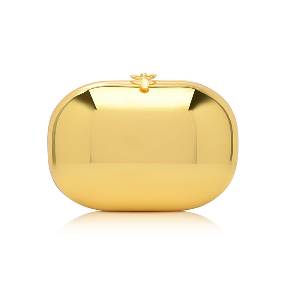 Elina Mirrored Gold Clutch