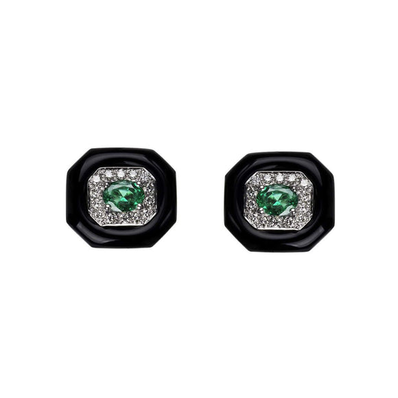 Oui Studs with Emerald Centres