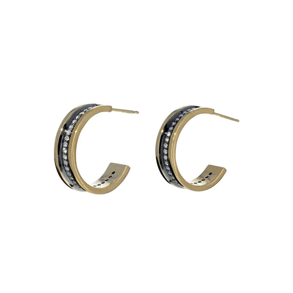 Gold and Diamond Line Hoops