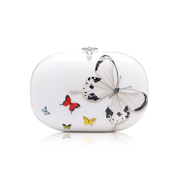 Elina White Butterfly Clutch