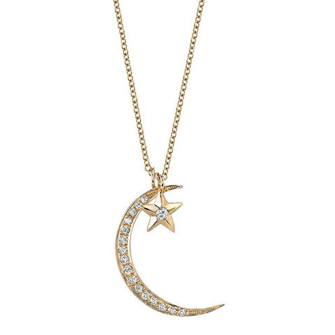 Diamond Moon & Star Necklace