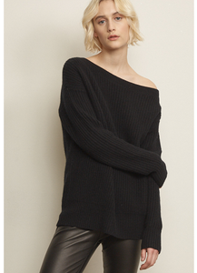 Draped Shoulder Sweater