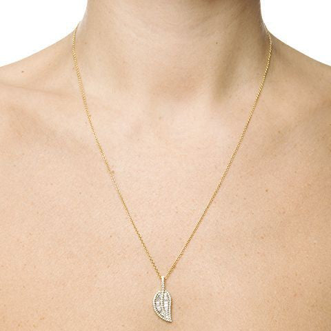 Diamond Baguette Leaf Necklace