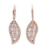 Diamond Baguette Leaf Earringw