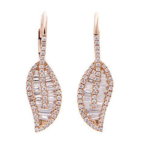 Diamond Baguette Leaf Earring