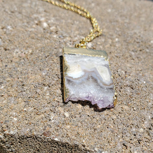 Large Gold Plated Raw Amethyst Necklace