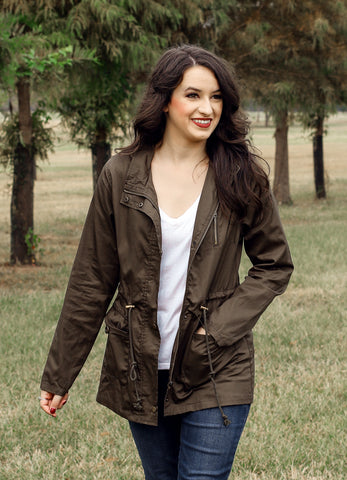 Dark Green Womens Military Jacket with Hoodie