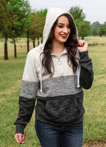 White/Grey Fleece Pullover Hoodie