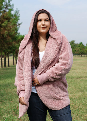 Plush Hooded Jacket with Pockets