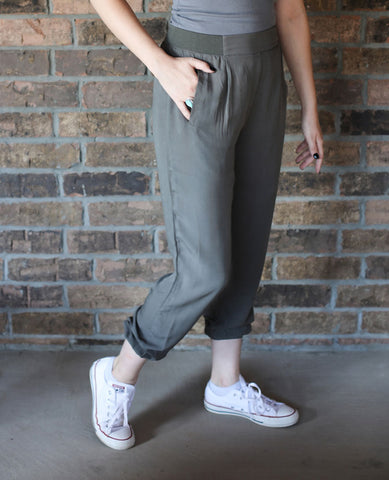 Olive High-Waisted Pants