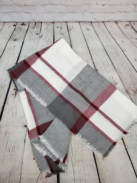 Red/White/Grey Blanket Scarf