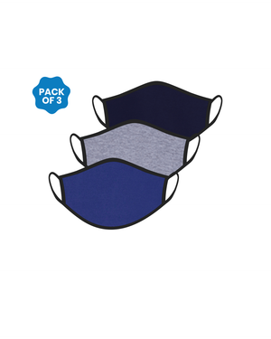 FACE PROTECTOR WITH EAR LOOP - NAVY BLUE, GREY, ROYAL BLUE COLOUR (Pack of 3)
