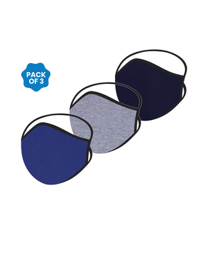 FACE PROTECTOR WITH LONG LOOP - NAVY BLUE, GREY, ROYAL BLUE COLOUR (Pack of 3)