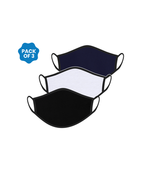 FACE PROTECTOR WITH EAR LOOP - BLACK, WHITE, NAVY BLUE COLOUR (Pack of 3)