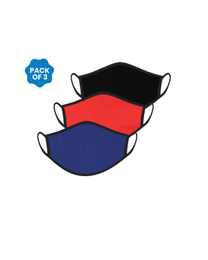 FACE PROTECTOR WITH EAR LOOP - BLACK, RED, ROYAL BLUE COLOUR (Pack of 3)