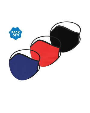 FACE PROTECTOR WITH LONG LOOP - BLACK, RED, ROYAL BLUE COLOUR (Pack of 3)