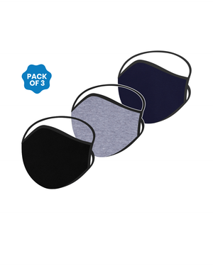 FACE PROTECTOR WITH LONG LOOP - BLACK, NAVY BLUE, GREY COLOUR (Pack of 3)