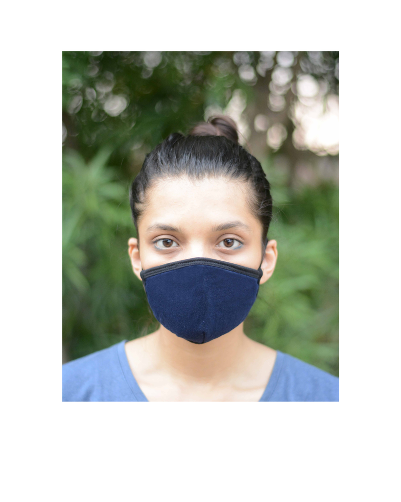 FACE PROTECTOR WITH EAR LOOP - NAVY BLUE COLOUR (Pack of 3)