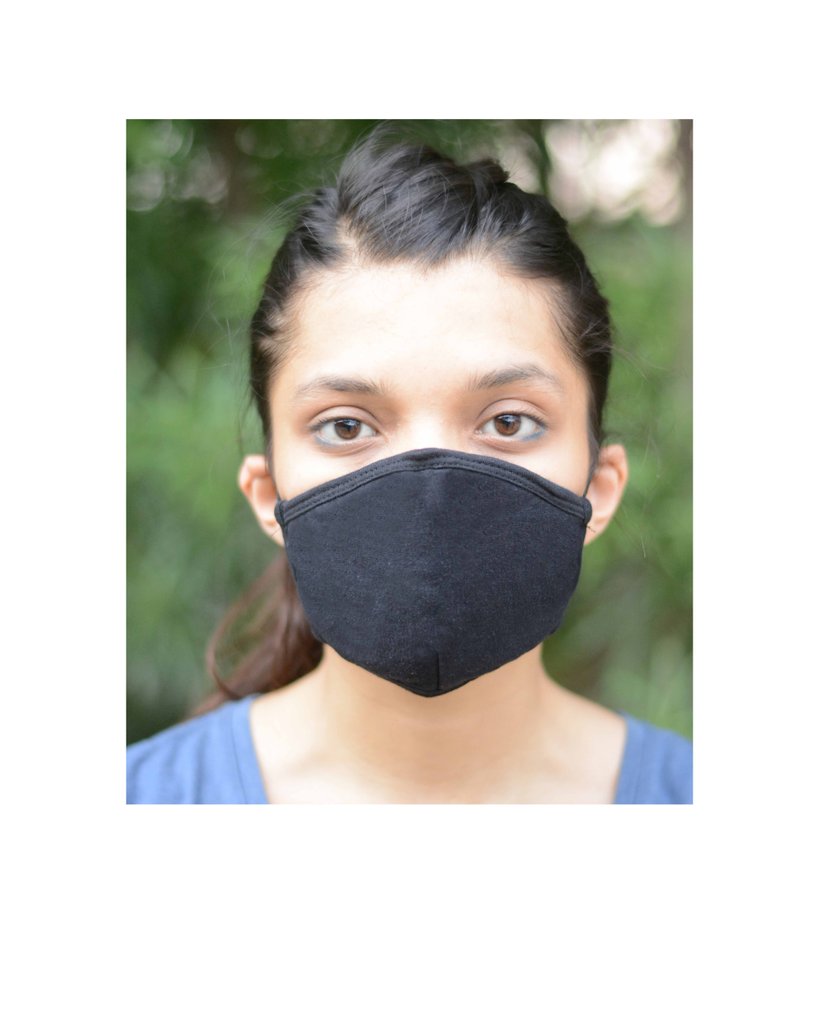 The One Mask Certified Reusable Washable Protective Face Mask for Men Women and Kids - Black Colour