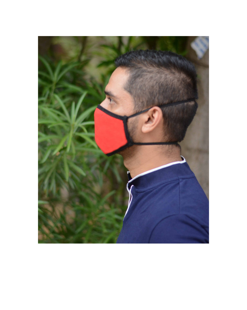 Red Colored Anti Pollution Mask with Long Loop (Pack of 3)