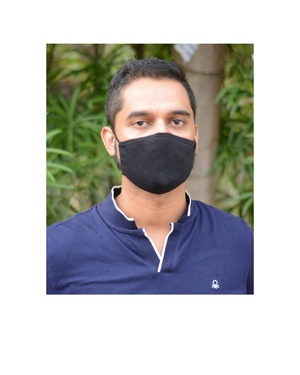 FACE PROTECTOR WITH LONG LOOP - BLACK, WHITE, NAVY BLUE COLOUR (Pack of 3)