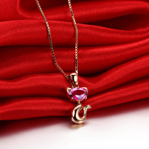 925 Silver Gem-plated Rose Gold Necklace