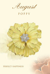poppy August birth flower brooch in 18K gold
