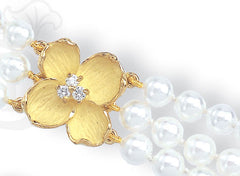 dogwood bracelet with pearls, 18K gold