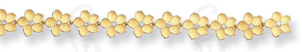 Closed Pansy Bracelet, 18K gold and Platinum