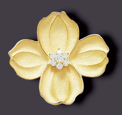 dogwood brooch, 18K gold
