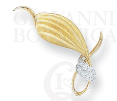 Quiet Embrace Leaf Brooch, 18K Gold and Platinum