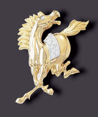Horse Brooch, 18K Gold and Platinum with diamonds