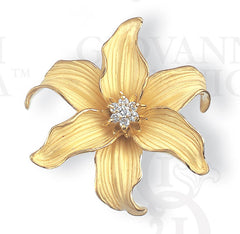 orchid lily pin/pendant, 18K gold