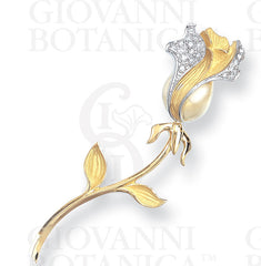 rose stick pin, 18K gold and platinum