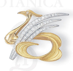 swan brooch pin pendant, 18K gold and platinum