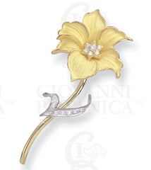 orchid stick pin, 18K gold and platinum