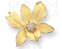 ports of paradise orchid pin pendant 18K gold with diamond accents