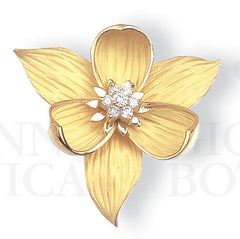 trillium brooch pin pendant, medium, 18K gold