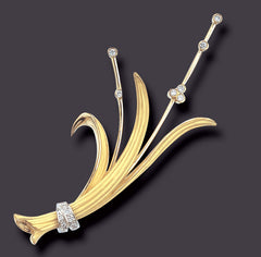 bamboo flower brooch 18K gold and platinum