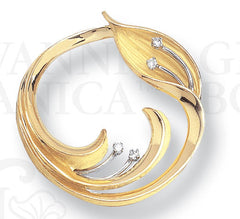 Circle of Life Brooch Pin, 18K and Platinum