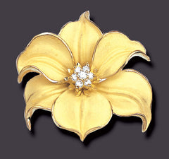 curved Bellina orchid brooch pin pendant, 18K gold with diamonds