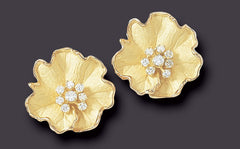 Large Alpine Rose earrings, 18K Gold