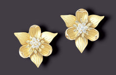 trillium earrings, 18K gold