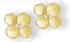 dogwood earrings, small, in 18K gold